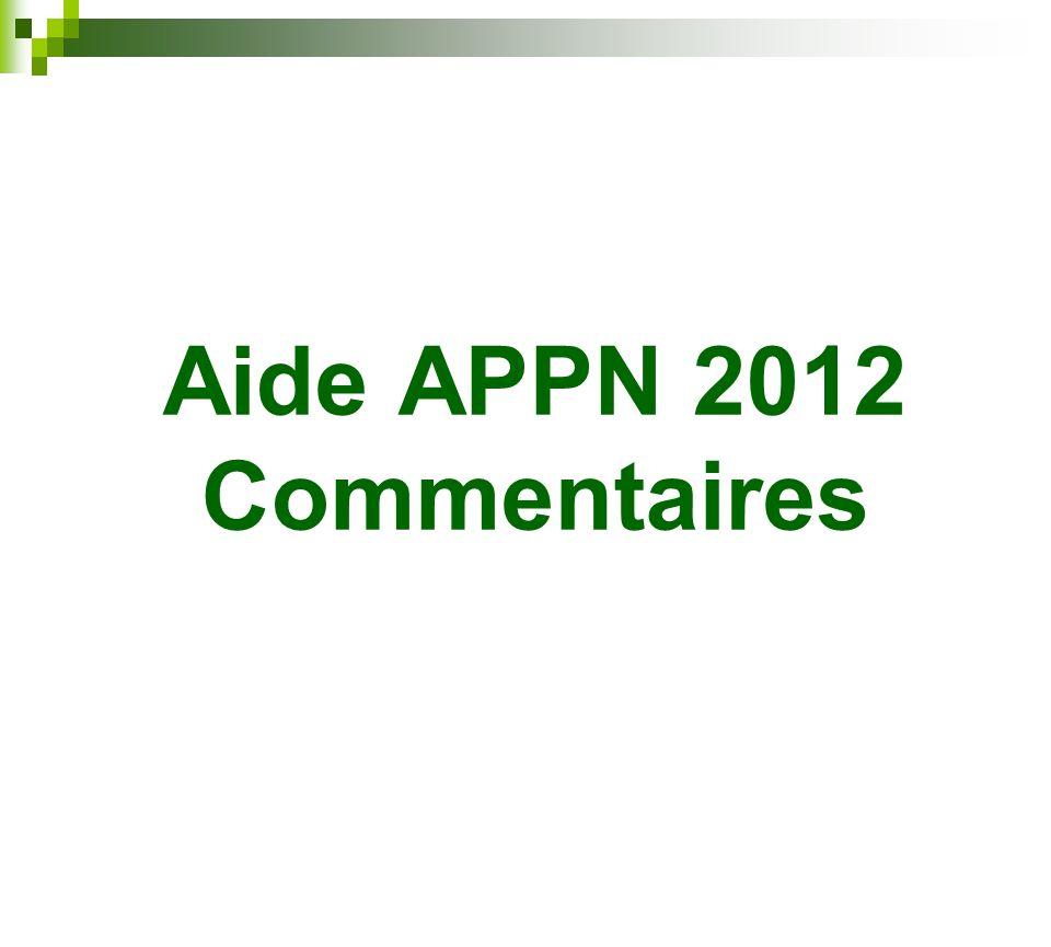 Aide APPN 2012 Commentaires
