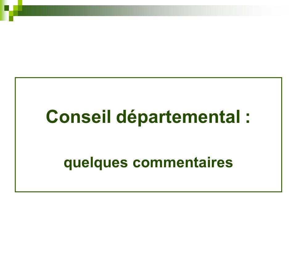 Conseil départemental : quelques commentaires