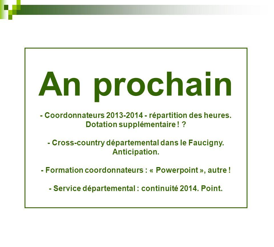 An prochain - Coordonnateurs 2013-2014 - répartition des heures. Dotation supplémentaire !