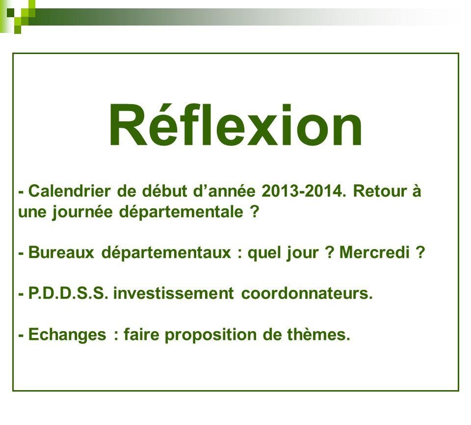 Réflexion - Calendrier de début d'année 2013-2014. Retour à une journée départementale - Bureaux départementaux : quel jour Mercredi