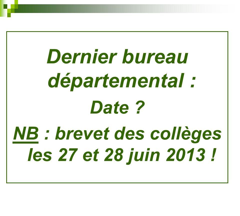 Dernier bureau départemental :