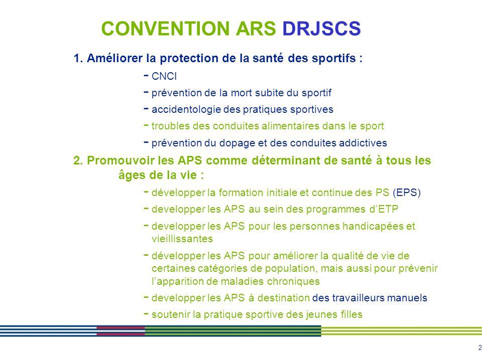 CONVENTION ARS DRJSCS 1. Améliorer la protection de la santé des sportifs : CNCI. prévention de la mort subite du sportif.