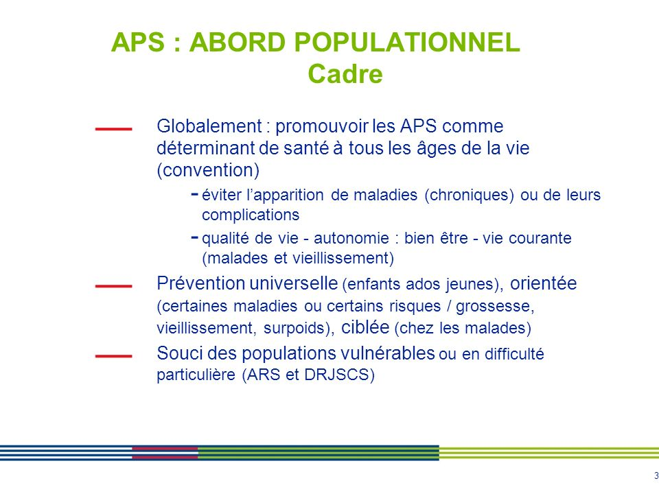 APS : ABORD POPULATIONNEL Cadre
