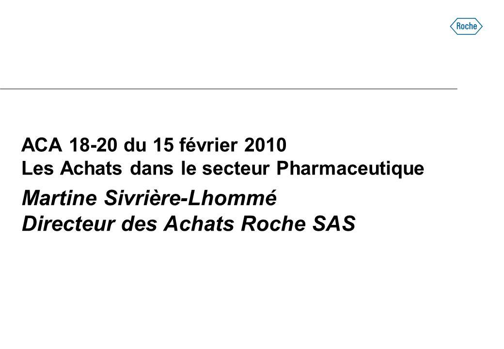 ACA 18-20 du 15 février 2010 Les Achats dans le secteur Pharmaceutique