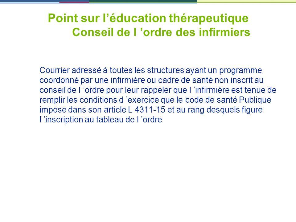 Point sur l'éducation thérapeutique Conseil de l 'ordre des infirmiers