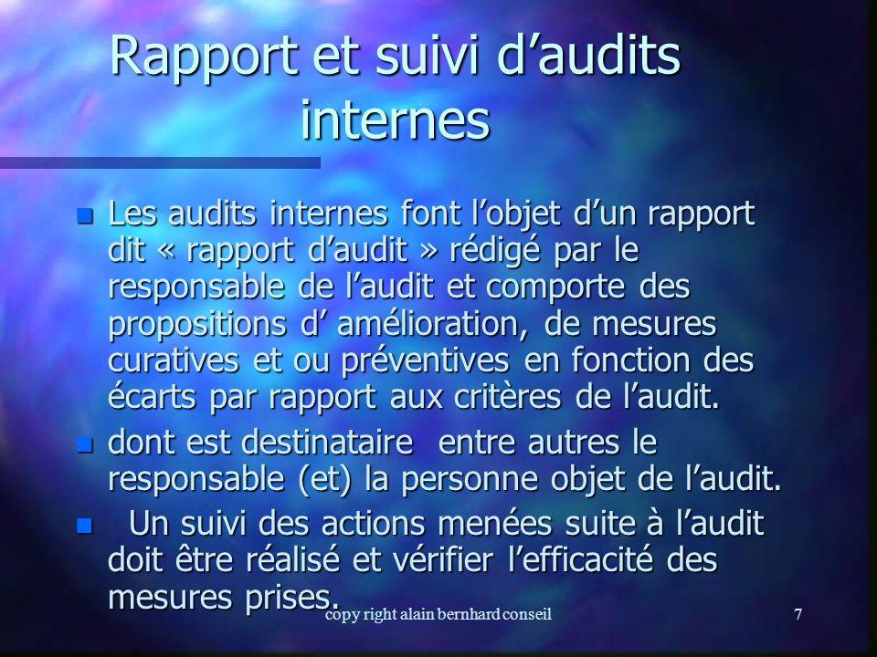 Rapport et suivi d'audits internes