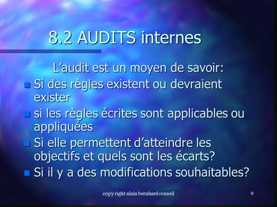 8.2 AUDITS internes L'audit est un moyen de savoir:
