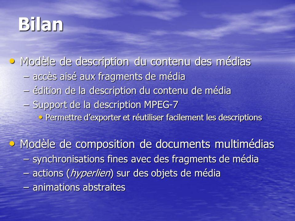 Bilan Modèle de description du contenu des médias
