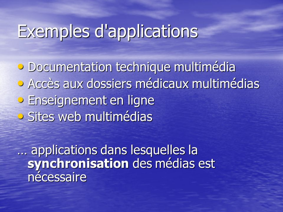 Exemples d applications
