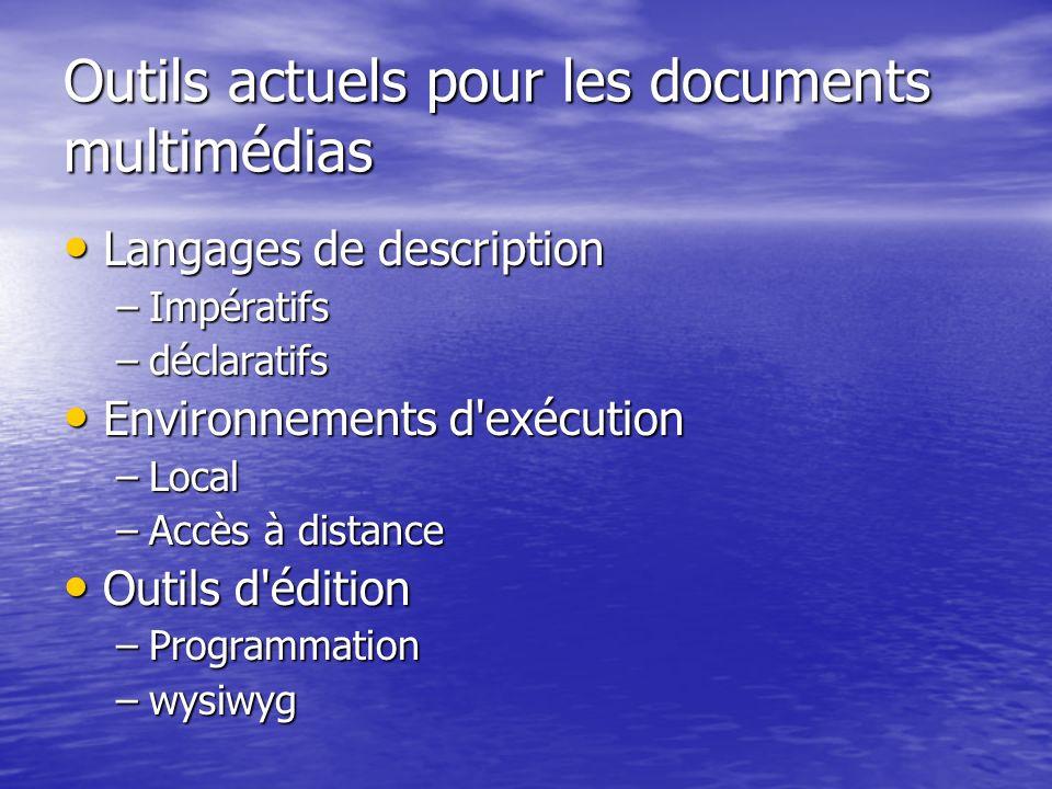Outils actuels pour les documents multimédias