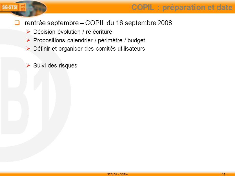 COPIL : préparation et date