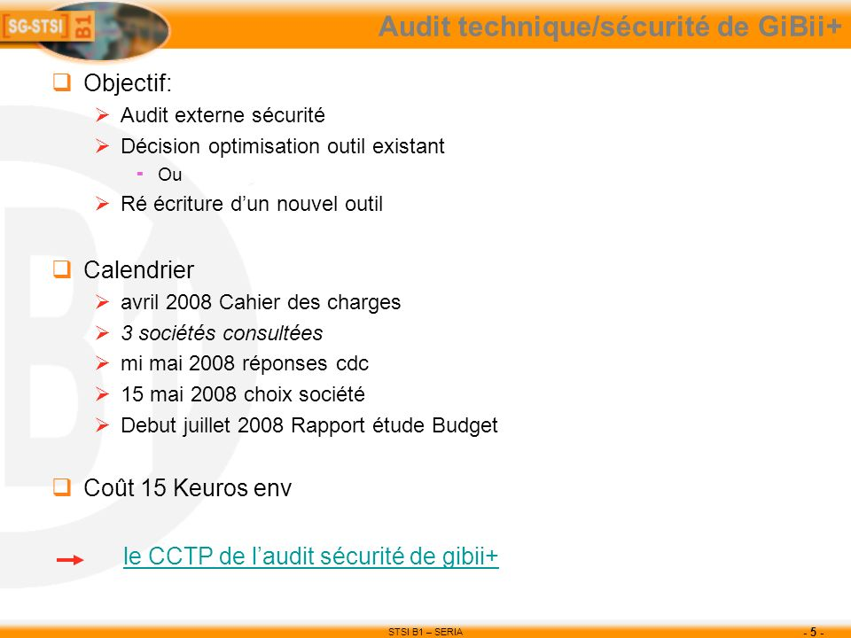 Audit technique/sécurité de GiBii+