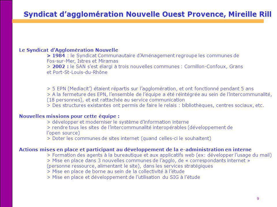 Syndicat d'agglomération Nouvelle Ouest Provence, Mireille Rill