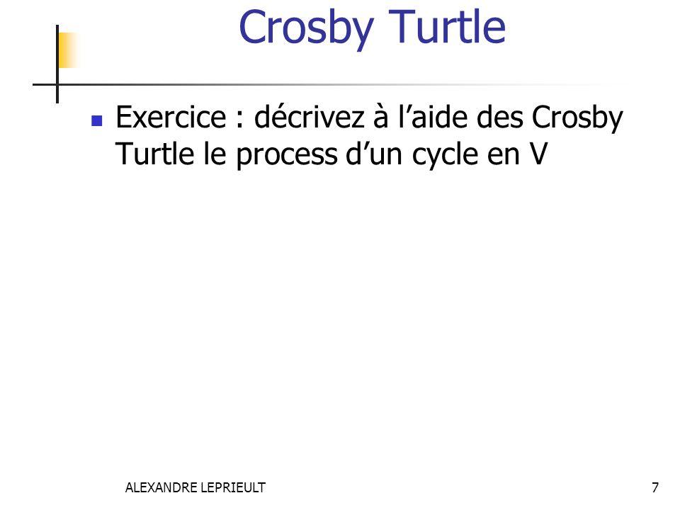 Crosby Turtle Exercice : décrivez à l'aide des Crosby Turtle le process d'un cycle en V.