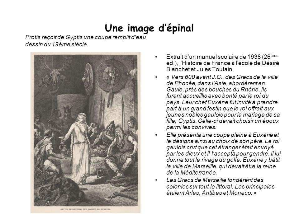 Une image d'épinalProtis reçoit de Gyptis une coupe remplit d eau dessin du 19éme siécle.