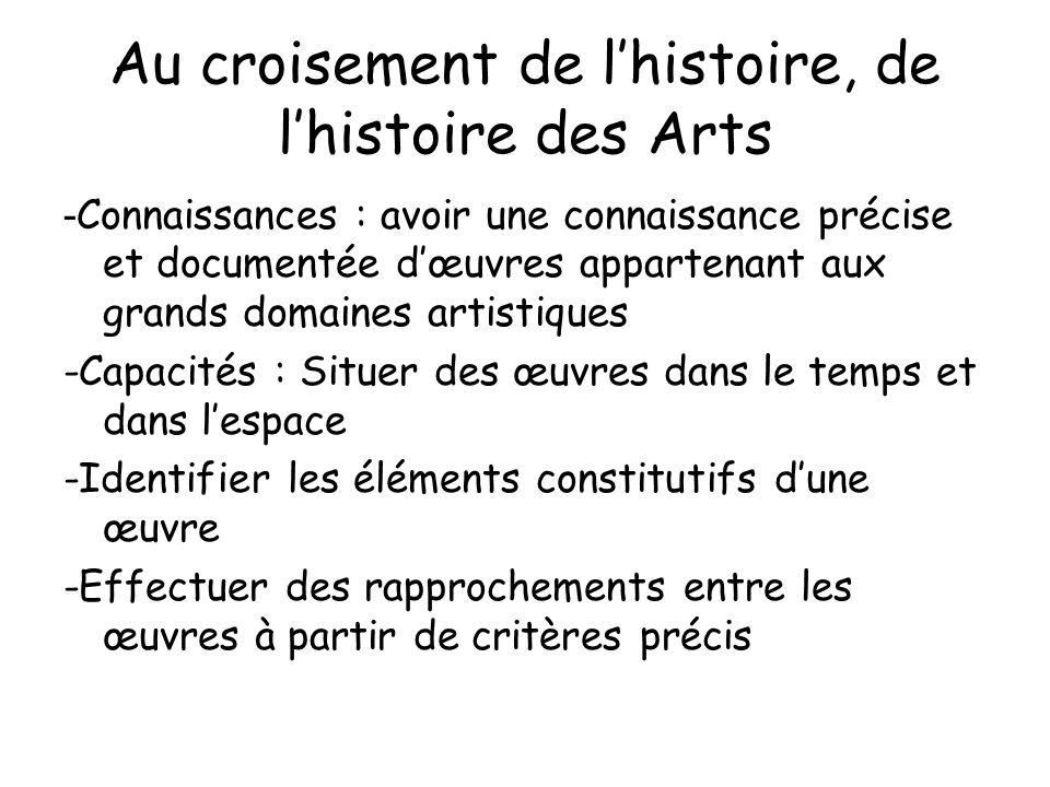 Au croisement de l'histoire, de l'histoire des Arts