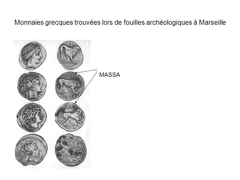 Monnaies grecques trouvées lors de fouilles archéologiques à Marseille