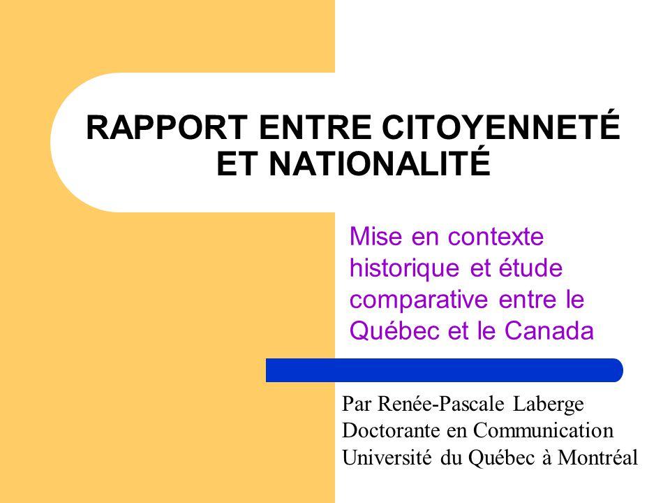 RAPPORT ENTRE CITOYENNETÉ ET NATIONALITÉ