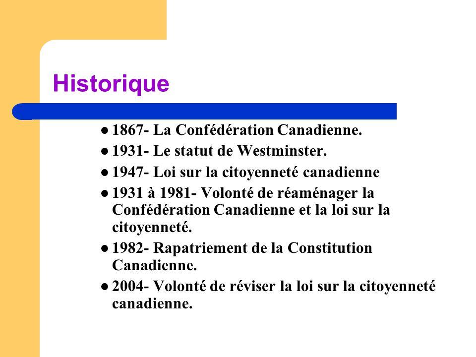 Historique 1867- La Confédération Canadienne.