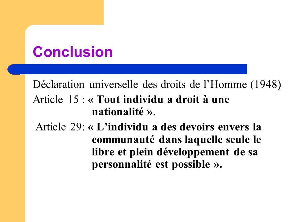 Conclusion Déclaration universelle des droits de l'Homme (1948)