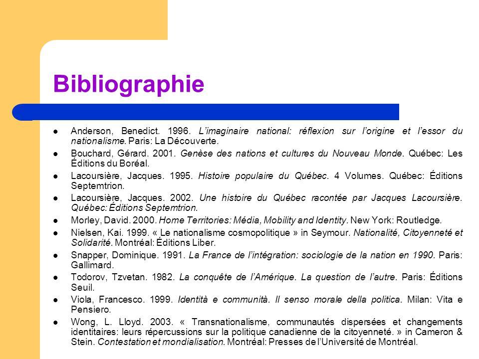 Bibliographie Anderson, Benedict. 1996. L'imaginaire national: réflexion sur l'origine et l'essor du nationalisme. Paris: La Découverte.