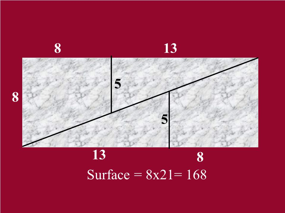 8 13 5 8 5 13 8 Surface = 8x21= 168