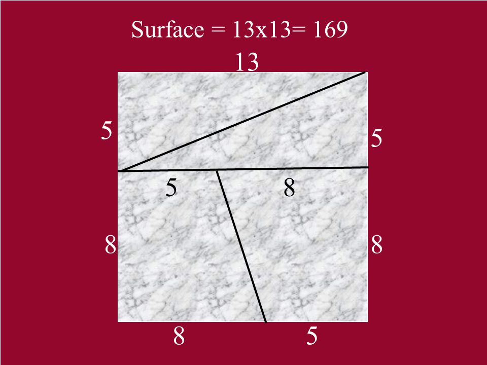 Surface = 13x13= 169 13 5 5 5 8 8 8 8 5