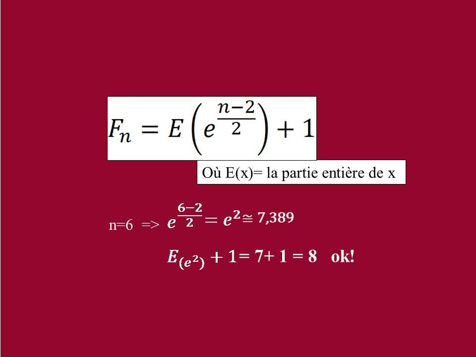 Où E(x)= la partie entière de x