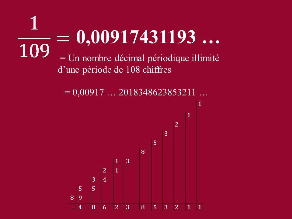 0,00917431193 … = Un nombre décimal périodique illimité d'une période de 108 chiffres. = 0,00917 … 2018348623853211 …