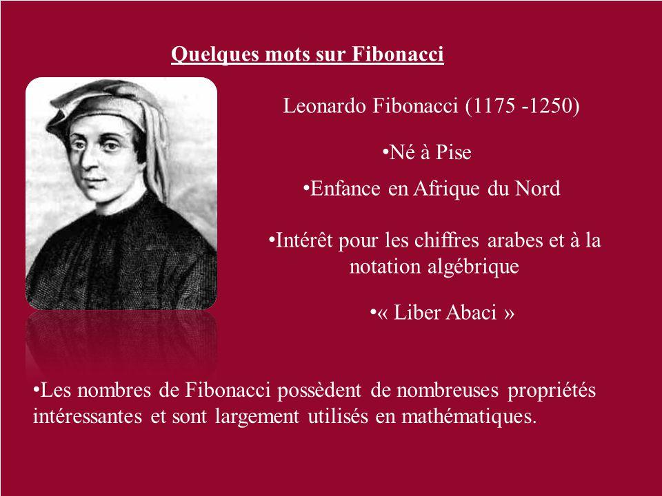 Quelques mots sur Fibonacci