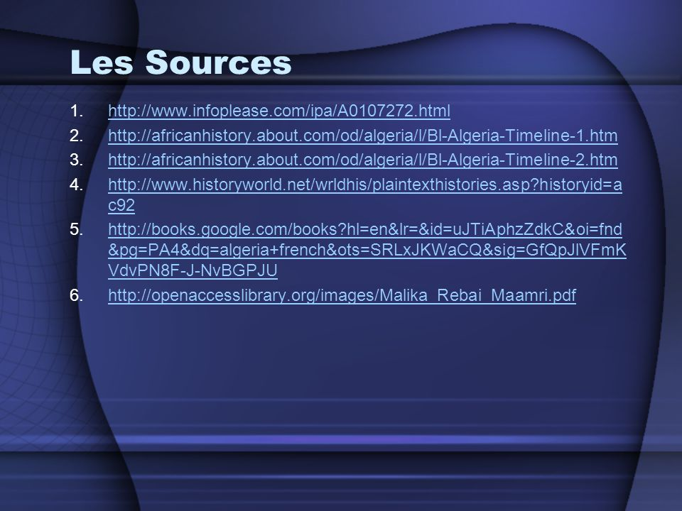 Les Sources http://www.infoplease.com/ipa/A0107272.html