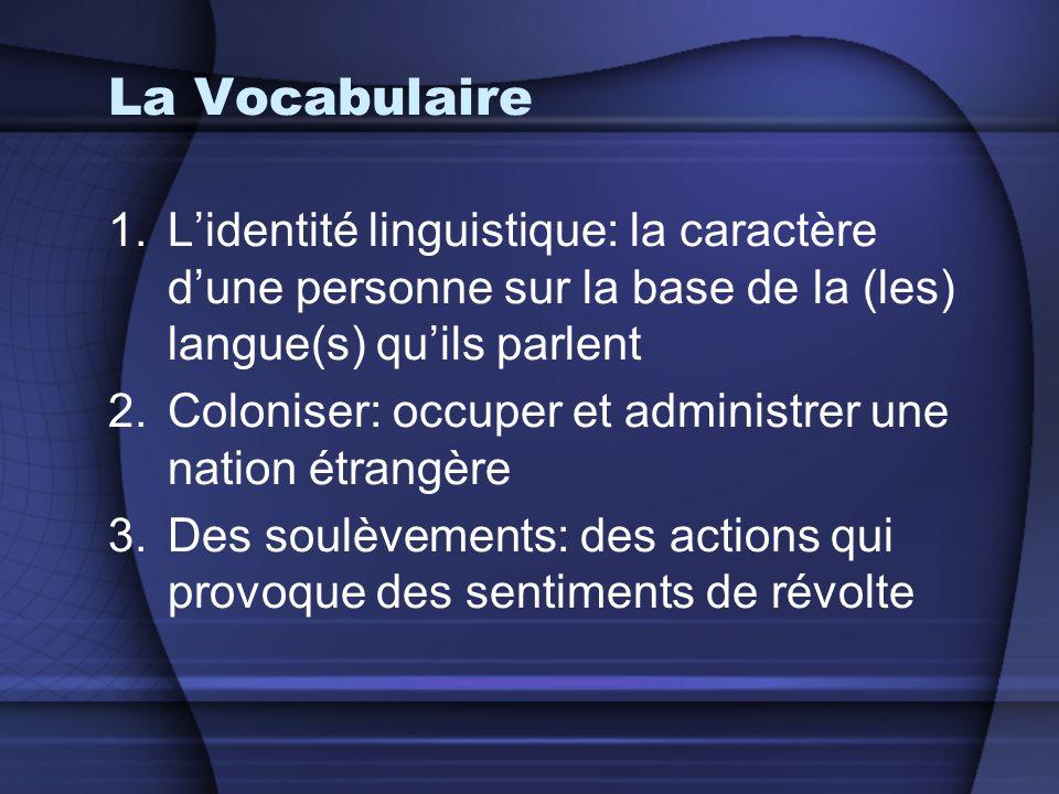 La Vocabulaire L'identité linguistique: la caractère d'une personne sur la base de la (les) langue(s) qu'ils parlent.