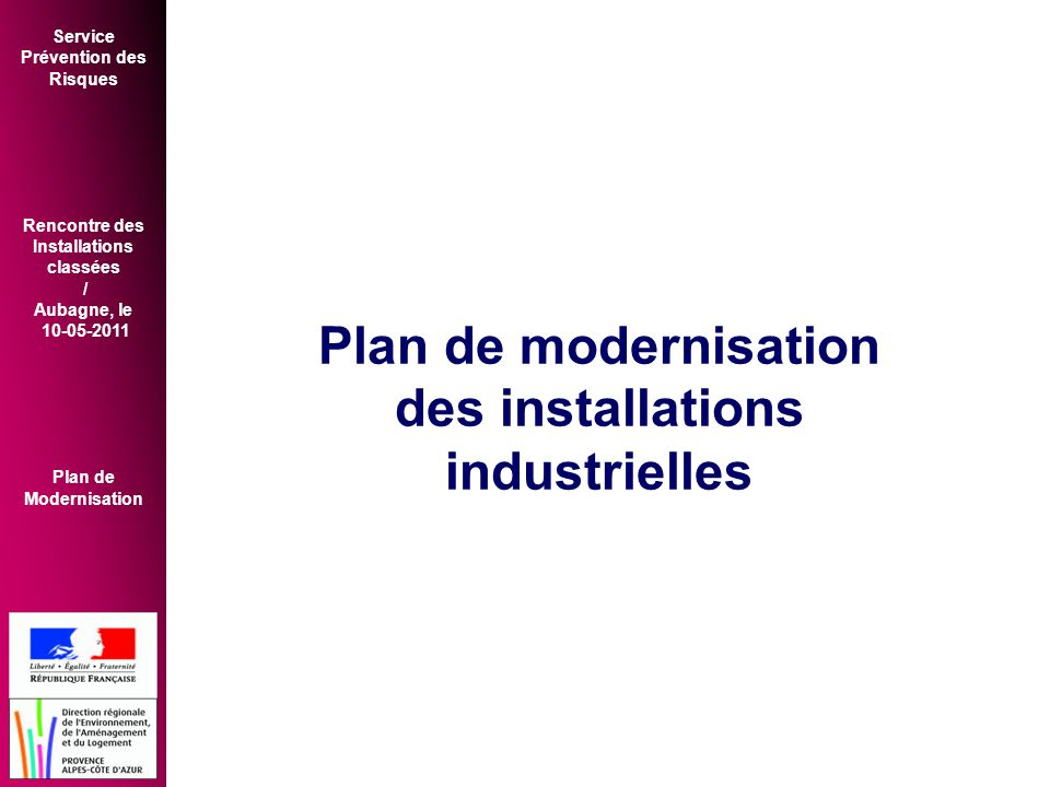 Plan de modernisation des installations industrielles
