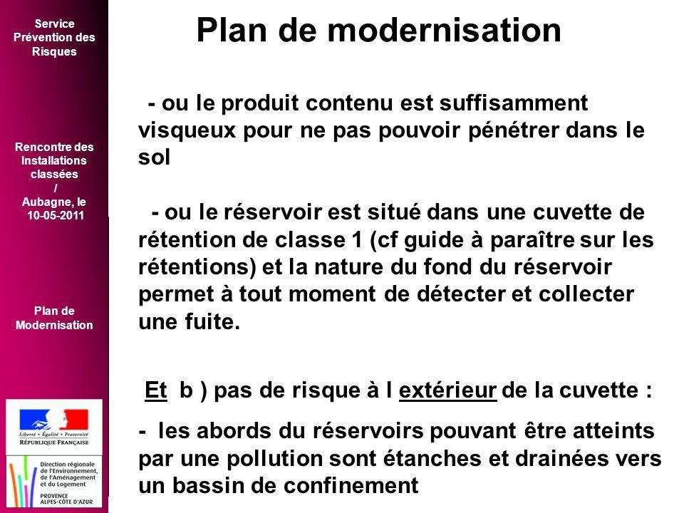 Plan de modernisation - ou le produit contenu est suffisamment visqueux pour ne pas pouvoir pénétrer dans le sol.