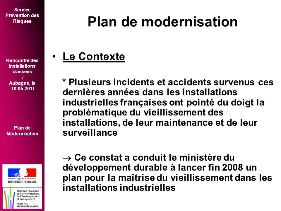 Plan de modernisation Le Contexte
