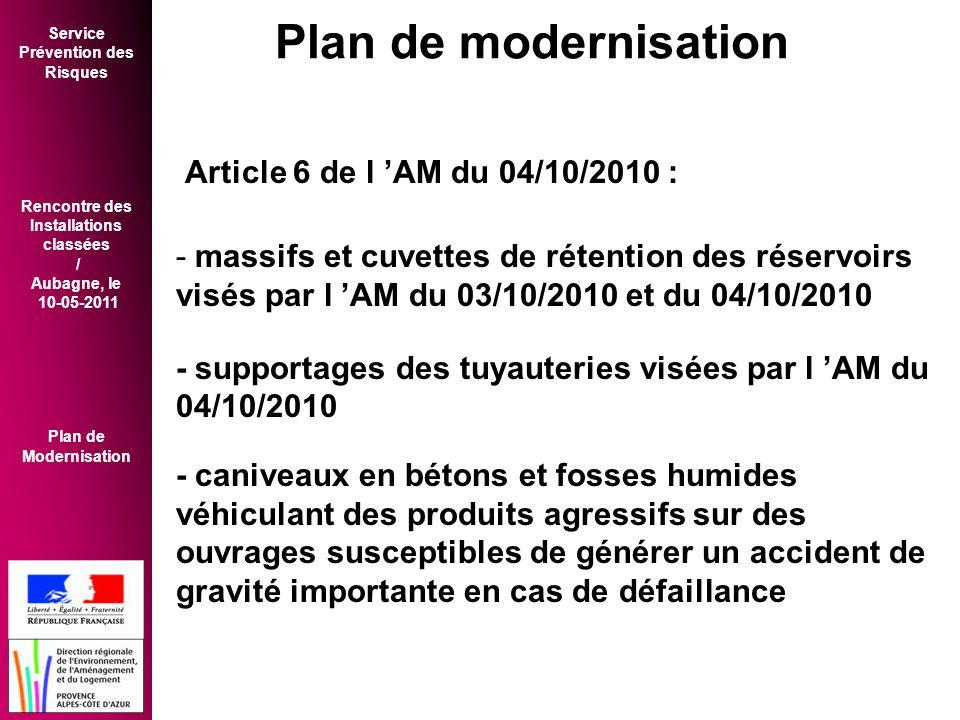 Plan de modernisation Article 6 de l 'AM du 04/10/2010 :
