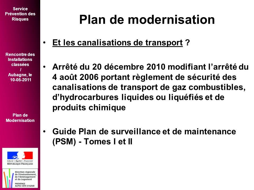 Plan de modernisation Et les canalisations de transport