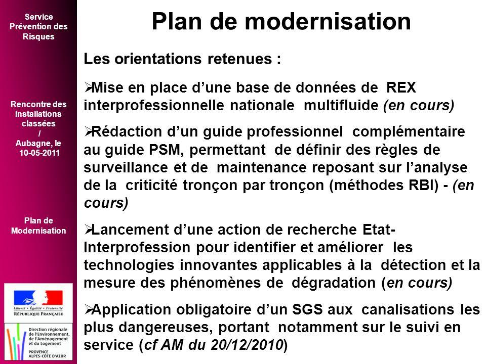 Plan de modernisation Les orientations retenues :