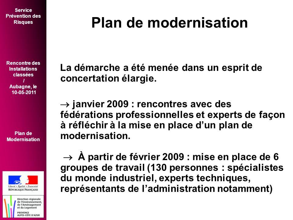 Plan de modernisation La démarche a été menée dans un esprit de concertation élargie.