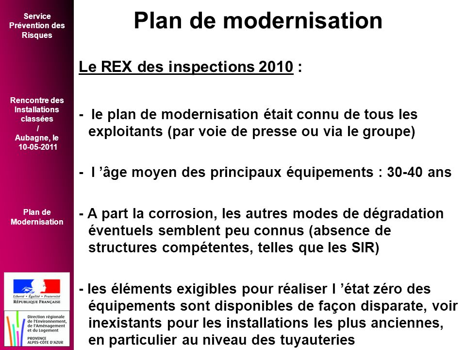 Plan de modernisation Le REX des inspections 2010 :