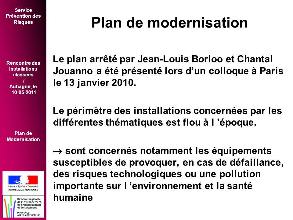 Plan de modernisation Le plan arrêté par Jean-Louis Borloo et Chantal Jouanno a été présenté lors d'un colloque à Paris le 13 janvier 2010.
