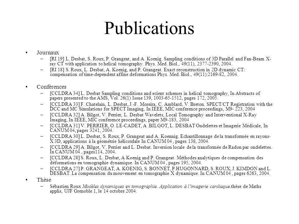 Publications Journaux Conférences Thèse