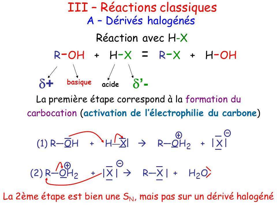 d+ d'- III – Réactions classiques A – Dérivés halogénés