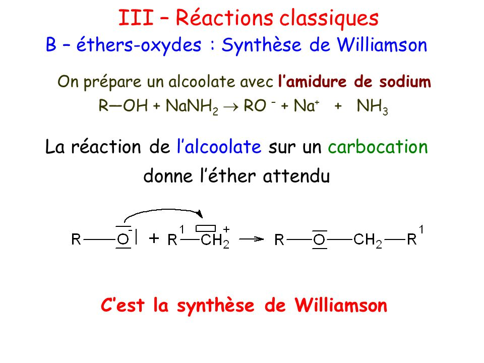 C'est la synthèse de Williamson