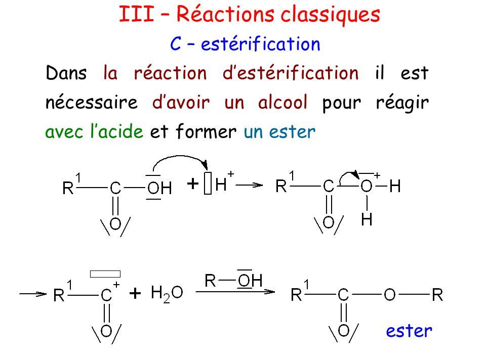 III – Réactions classiques