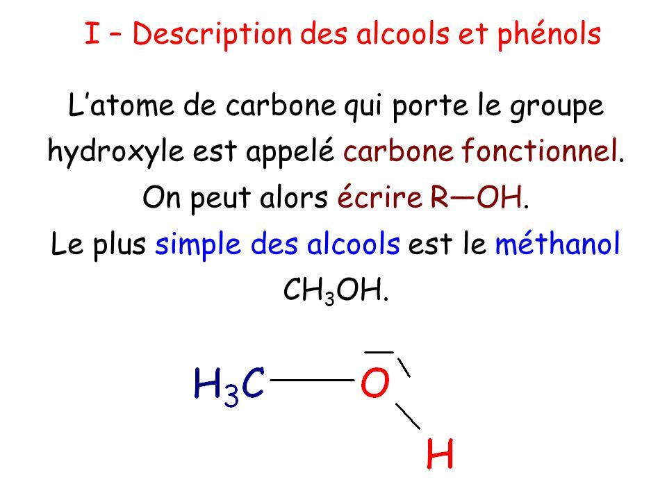 I – Description des alcools et phénols
