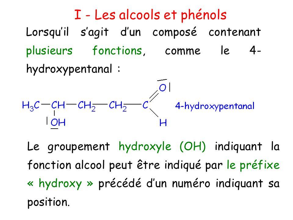 I - Les alcools et phénols