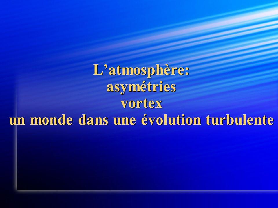 L'atmosphère: asymétries vortex un monde dans une évolution turbulente