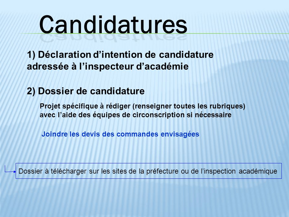 Candidatures 1) Déclaration d'intention de candidature