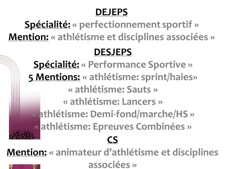 CS Mention: « animateur d'athlétisme et disciplines associées »